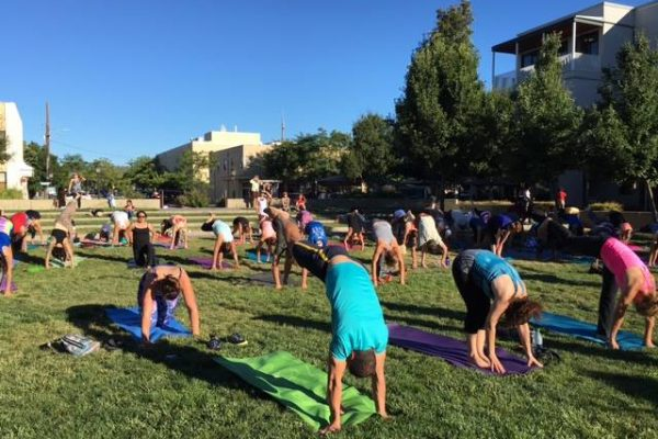 Visitors doing yoga on the green.