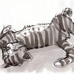 Ink, art, cat art, Judith Kunzle